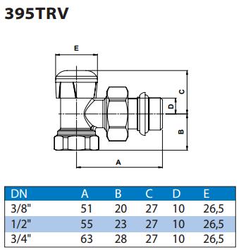 Габаритні розміри клапана WATTS 395TRV