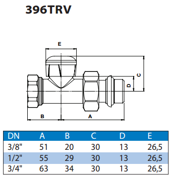 Кран радіаторний прямий 396TRV