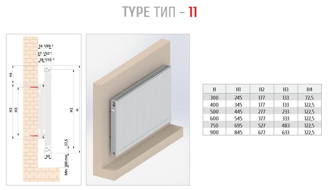 Монтаж сталевих панельних радіаторів Copa Тип 11
