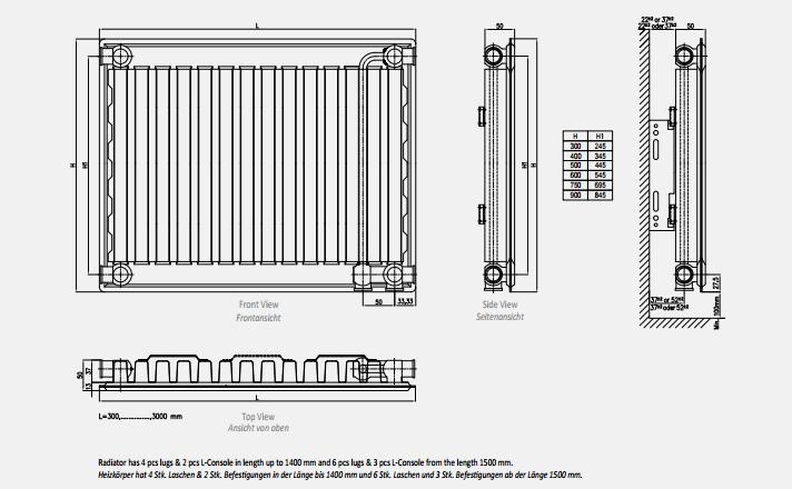 Габаритно-приєднувальні розміри радіаторів Copa тип 11