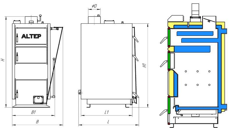 Твердопаливний котел на дровах Альтеп КТ-1ЕNM — габаритні розміри котла